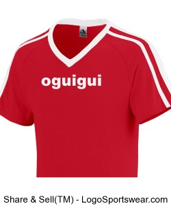 Oguigui red short sleeve two bands V collar Design Zoom